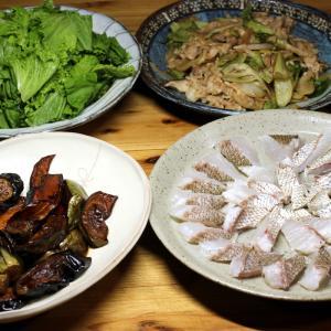 宇和海産天然マダイの皮焼き、自家栽培ナスとカボチャの揚げ浸しほか。