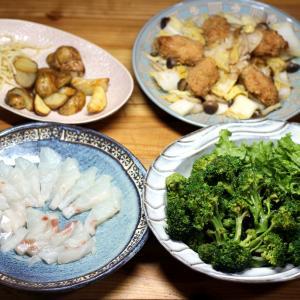 自家栽培ブロッコリーの茹で上げとレタス、八幡浜近海産マダイの刺し身、自家栽培ジャガイモフライほか
