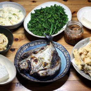 八幡浜近海産カイワリの自家製干物、自家栽培ブロッコリー、トリテンとシイタケの天ぷらほか。