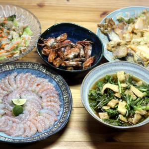 八幡浜近海産地エビの刺し身と頭のカリカリ焼き、自家栽培コマツナの炒め煮ほか。