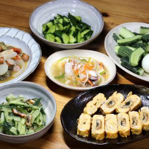 高知県産ウナギのう巻き・うざく、自家栽培キュウリとトウモロコシ、夏野菜のラタトゥイユ風ほか。