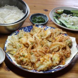 自家栽培タマネギとトウモロコシ入りかき揚げと、久万高原町・高野製麺所さんのそうめんほか。