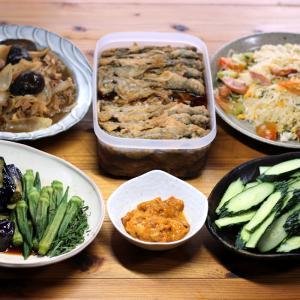 赤ウニの冷凍剥き身と自家栽培キュウリ、ナスとオクラの揚げ浸し、南蛮漬けほか。