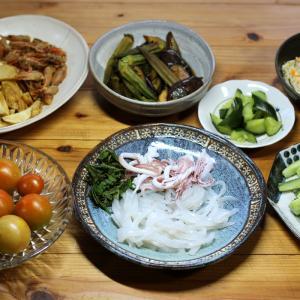 宇和海産スルメイカの刺し身、自家栽培ミディトマトとキュウリ、フライドポテト、揚げ浸しほか。