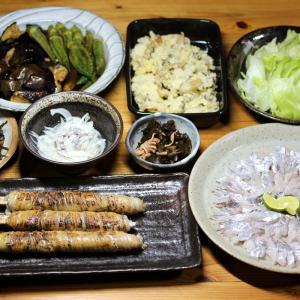 宇和海産タチウオの太刀魚巻き・刺し身、自家栽培ナスとオクラの揚げ浸しほか。