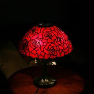 生徒さんの16in薔薇のランプ 完成