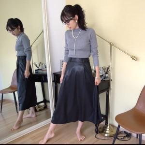GUのレザースカートを着回し