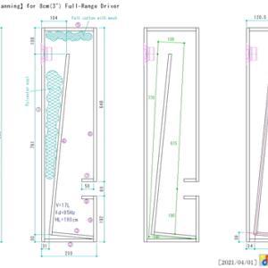 8cmフルレンジ用TWTD(ダンプダクト付きテーパー波動管、開口部オフセット型TQWT)