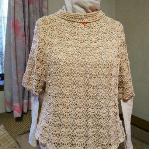 松編みプルに方眼編みをプラス