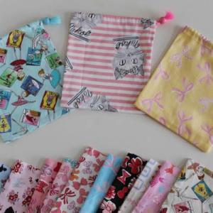 入園入学準備に 巾着各サイズ揃ってます