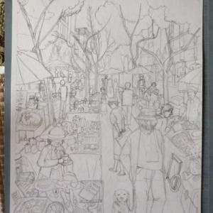 「蚤の市」に行きた過ぎて描いてみた。