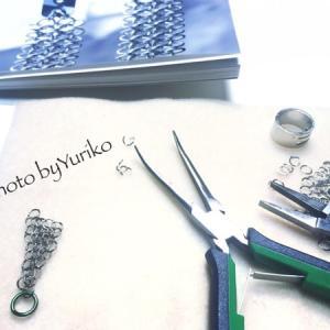 チェインメイル、ヨーロピアン4イン1で二等辺三角形のイヤリングの作り始め〜!
