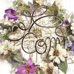 春先取り、花冠のプレートに新デザインのワイヤー文字を取り付けたよ〜♬
