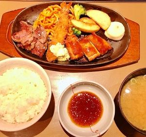 やよい軒のカットステーキミックス定食【和風ソース】を食べました♪