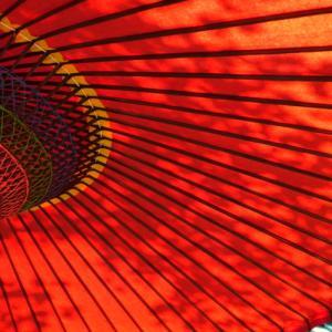 *赤 彩。。野点傘が彩る風景。。~鎌倉 海蔵寺~1♪