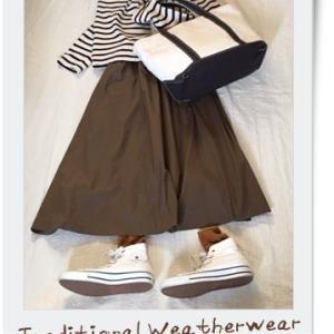 Traditional Weatherwearの ビッグマリン ボートネック シャツとユニクロのコットンフレアロングスカート。 健康診断で・・・。 昨日のおかずは『20Kgやせた! 10分ごはん』から糖質オフメニューを作ってみた。