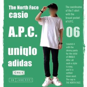 着画*A.P.C.のロゴ刺繍入りポケット付きTシャツとユニクロのスキニー / フロントロゴの白Tを探してます / スパセで買った大物商品とは!?