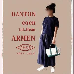 着画*購入したARMENの白スニーカーとDANTONのTシャツ、coenのスカーチョでネイビーのワントーンコーデ。/ ドアーズのコットンボイルブラウスとワンピース