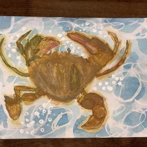 美術絵画の生徒さんが描いた蟹の絵。小学校受験