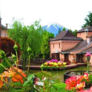 バラと噴水の美しい庭園(河口湖オルゴールの森)