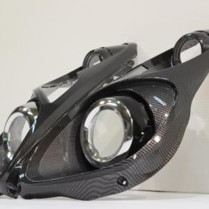 スバル R1 ヘッドライトカスタム カーボン転写