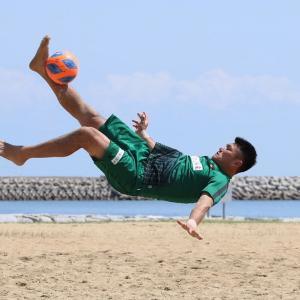 ビーチサッカー撮影