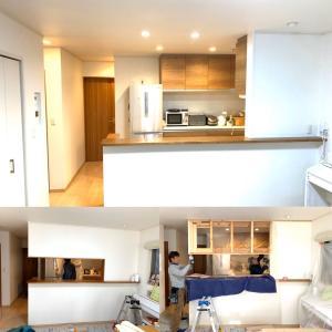 吊り戸棚の垂れ壁を撤去して✨開放感のある対面キッチンへ