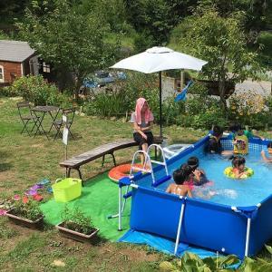 キャンプ場、プール開き