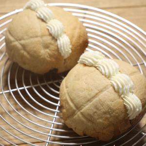 長時間熟成発酵で捏ねないパン♪生クリームメロンパン♪
