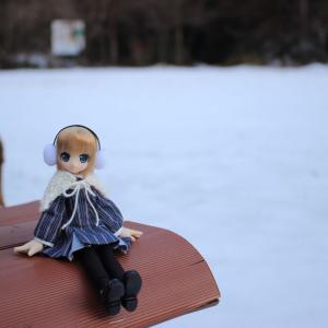 雪景色の公園とエルノさん