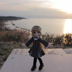 海と夕焼けとエルノさん