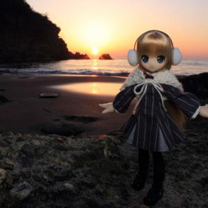 夕日とエルノさん
