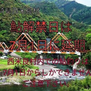 西米良村(一ッ瀬川)の鮎解禁日が7月1日に変更になりました
