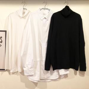 ユニクロ+Jコーデ④スーピマコットンオーバーサイズシャツ。