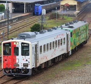 地球探索鉄道花咲線ラッピングトレインと道東森の恵み号の共演