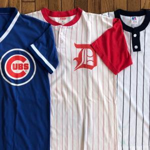 80年代MLB「Vネック/ヘンリーネック ベースボールTシャツ」(米国製)