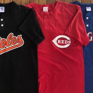 90-00年代ラッセル/マジェスティック「MLB(ヘンリーネック)Tシャツ」アメリカ製