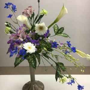 豪雨の中お花