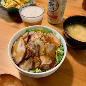 焼豚丼と手巻き寿司。
