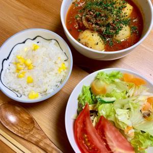 昨日の晩ご飯と今日のお弁当: トウモロコシご飯。