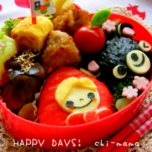 赤ずきんちゃんとクマさんのお弁当(キャラ弁、デコ弁)