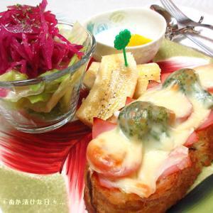 *メリ☆食* フランスパンのピザトーストでワンプレートモーニング♪