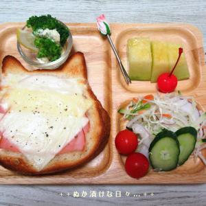 *メリ☆食* ねこねこ食パンのハムチーズトーストでワンプレートモーニング♪