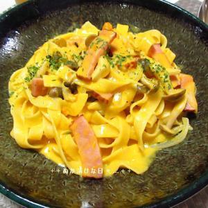 *メリ☆食* カボチャのクリームソースパスタで夕食♪