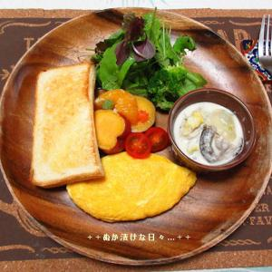 *メリ☆食* さつま芋のミカン煮でワンプレートモーニング♪
