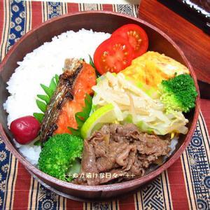 *メリ☆食* 牛肉のしぐれ煮と鮭の曲げわっぱ弁当♪