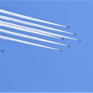都心の空にもフライオーバー ブルーインパルス飛来