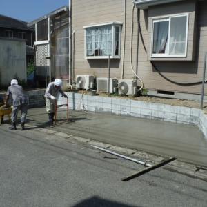 新しい駐車場 ~土間コンクリート打で工事終了となります。