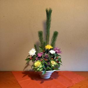 正月花の菊の花がやっと開きました。
