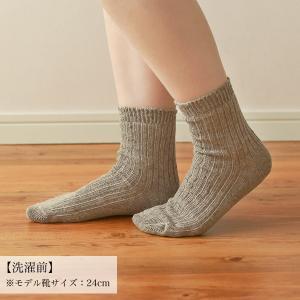 プレゼント靴下が増えます!!リネンラミーリブソックスが編み上がって参ります。
